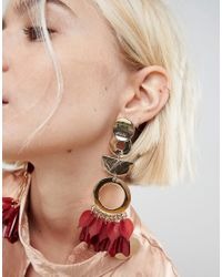 ASOS - Metallic Asos Statement Petal And Shape Drop Earrings - Lyst