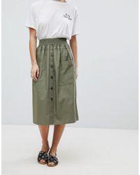 ASOS - Green Asos Design Petite Cotton Midi Skirt With Button Front - Lyst