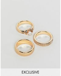 Reclaimed (vintage) - Metallic Inspired Pack Of 3 Gold Mixed Detail Rings - Lyst