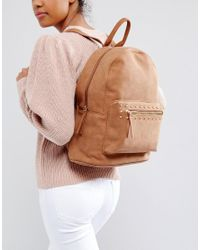 Pieces - Brown Studded Backpack - Lyst