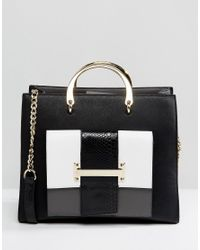 Women's Black Monochrome Medal Handle Tote Bag