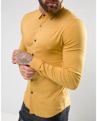 ASOS - Yellow Skinny Viscose Shirt In Mustard for Men - Lyst
