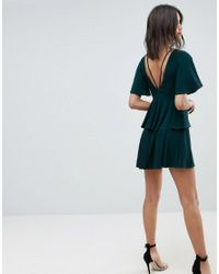 ASOS - Green Cut Out Fluted Sleeve Tiered Skater Mini Dress - Lyst