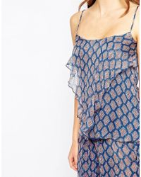 Mango - Blue Frill Front Printed Cami - Lyst