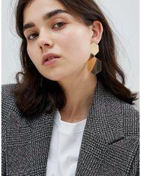ASOS - Metallic Hexagon Shape Drop Earrings - Lyst