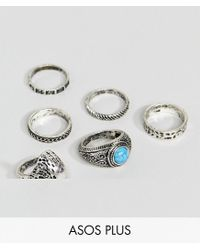 ASOS - Metallic Plus Chunky Ring Pack With Eagle And Stones In Burnished Silver for Men - Lyst