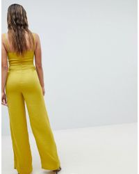 Missguided - Yellow Wide Leg Jumpsuit - Lyst