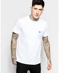 Fred Perry - White T-shirt With Camo Pocket for Men - Lyst