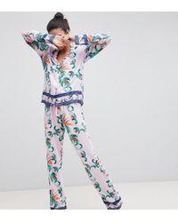 Women s Blue Asos Design Tall Tropical 100% Modal Traditional Shirt   Trouser  Pyjama Set fd728e88a
