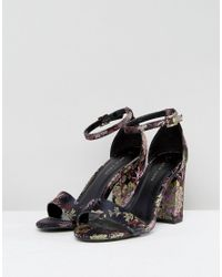 New Look - Black Patterned Heeled Sandal - Lyst