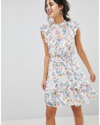 ad3272481d Forever New. Women s Blue Floral Printed Mini Dress With Frill Detail ...