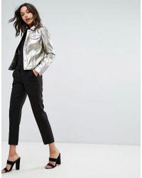 Sisley - Metallic Metalic Shirt Jacket - Lyst