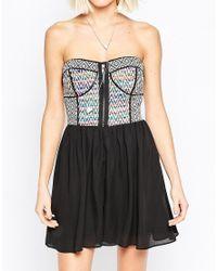 Greylin - Black Embroidered Zip Front Mini Dress - Lyst