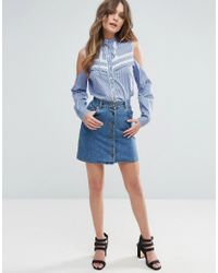 ASOS - Blue Stripe Shirt With Lace Inserts - Lyst