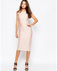 ASOS - Natural Bandage Midi Dress With Open Back - Lyst
