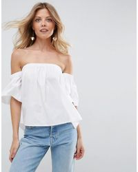 2abe893086c5ce ASOS Asos Cotton Off Shoulder Top With Fluted Sleeve in White - Lyst