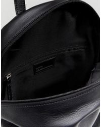 ASOS - Design Leather Backpack In Black With Front Zip for Men - Lyst