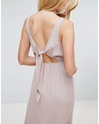ASOS - Natural Open Back Maxi Dress With Bow Detail - Lyst