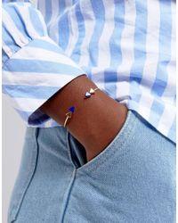 ASOS - Metallic Gold Plated Sterling Silver Arrow End Open Cuff Bracelet - Lyst