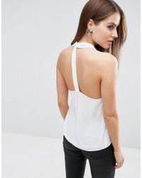 ASOS - White Wrap Halter Top With Back Detail - Lyst
