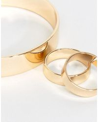ASOS - Metallic Exclusive Pack Of 3 Sleek Ring And Cuff Pack - Lyst