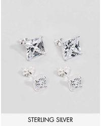 Women S Metallic Sterling Silver Crystal Stud Earring Pack