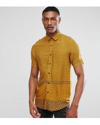 ASOS - Brown Asos Tall Regular Fit Viscose Print Shirt for Men - Lyst