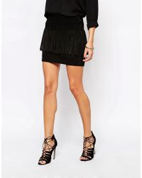 Mango - Black Suede Fringe Skirt - Lyst