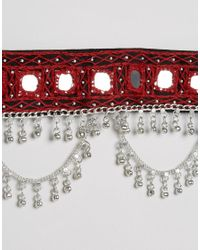 Glamorous - Red Festival Belt With Mirror And Chain Detail - Lyst