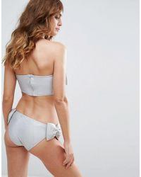 ASOS - Metallic Honeymoon Satin Bow Bandeau Bikini Top - Lyst