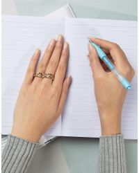 ASOS - Metallic Linked Chain Double Finger Ring - Lyst