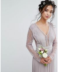 TFNC London - Gray Wedding Pleated Maxi Dress With Long Sleeves And Lace Inserts With Embellished Waist - Lyst