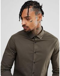 ASOS - Green Skinny Shirt In Dark Khaki for Men - Lyst
