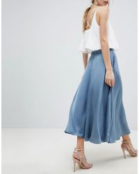 ASOS - Blue Asos Satin Midi Skirt With Self Belt - Lyst