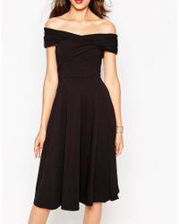 ASOS - Black Midi Skater Dress With Bardot Neckline - Lyst