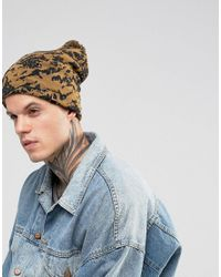 The North Face | Natural Tuke Bobble Beanie Trees Camo In Beige for Men | Lyst
