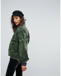 Free People | Green Slouchy Military Camo Jacket | Lyst