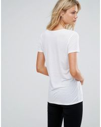 ASOS - White Lightweight T-shirt With V Neck - Lyst