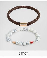 ALDO - Faux Leather & White Beaded Bracelet In 2 Pack for Men - Lyst