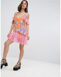 Jaded London - Pink Mix Print Layered Mini Dress - Lyst