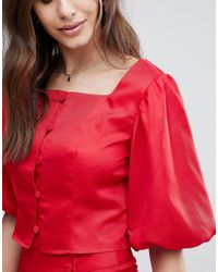 Fashion Union - Red Button Front Crop Top Two-piece - Lyst