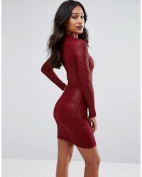 AX Paris - Red Animal Texture Long Sleeve Bodycon Dress - Lyst