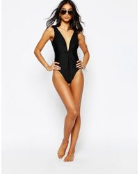 Wolf & Whistle - Black Twist Macrame Trim Swimsuit B/c - E/f Cup - Lyst