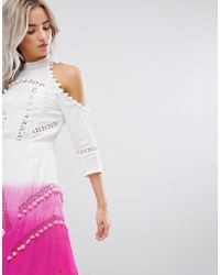 ASOS - Pink Premium Cold Shoulder Dip Dye Victoriana Dress With Pom Pom Trims And Lace Inserts - Lyst