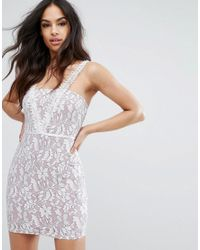 PRETTYLITTLETHING - Natural Lace Mini Dress - Lyst