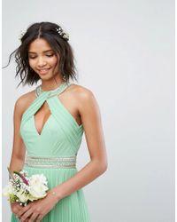 TFNC London - Green Wedding High Neck Maxi Dress With Pleat Detail - Lyst