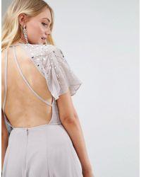 ASOS - Gray Embellished Bodice Flutter Sleeve Maxi Dress - Lyst