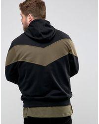 Another Influence - Black Plus Panel Zip Thru Hoodie for Men - Lyst