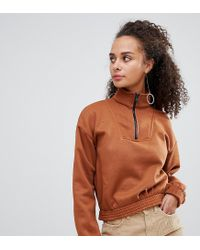 Bershka - Brown Zip Front Sweat - Lyst