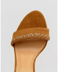 Boohoo - Brown Whipstitch Heeled Sandal - Lyst